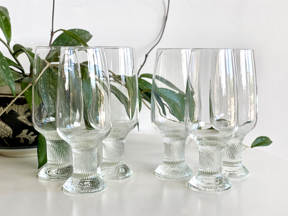 Crown Corning (Australia) 'Oslo' champagne flute glasses (x6)