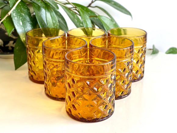 Amber water tumblers/glasses (x6)