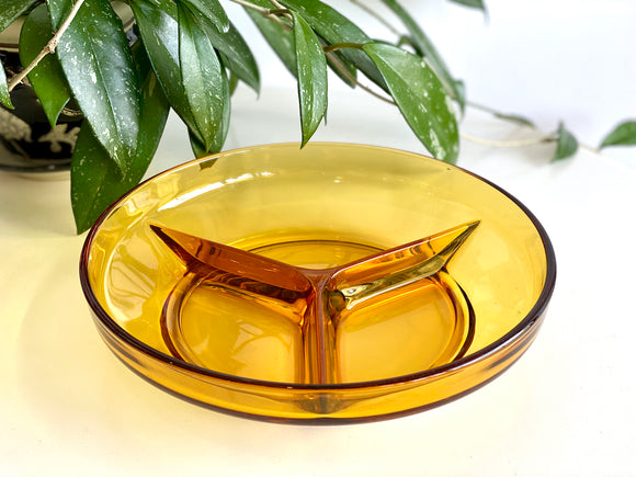 Amber divided serving dish