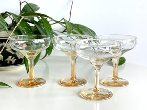 Crown Crystal Glass (Australia) champagne coupe glasses (x4)