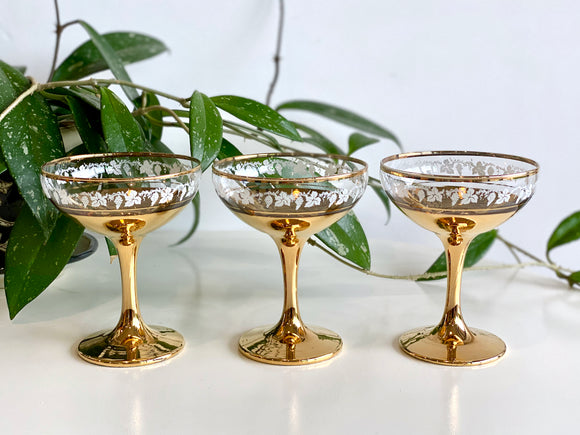 Crown Crystal Glass (Australia) champagne coupe glasses (x3)