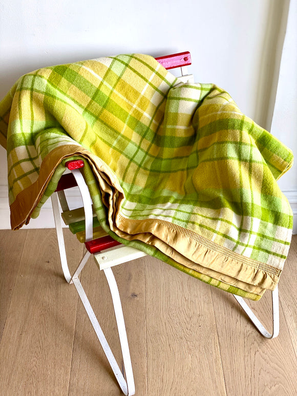 Vintage striped Australian wool blanket - lime, mustard, ivory