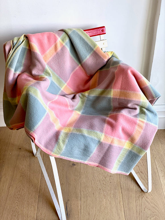 Vintage plaid Australian wool blanket - pink, blue, yellow