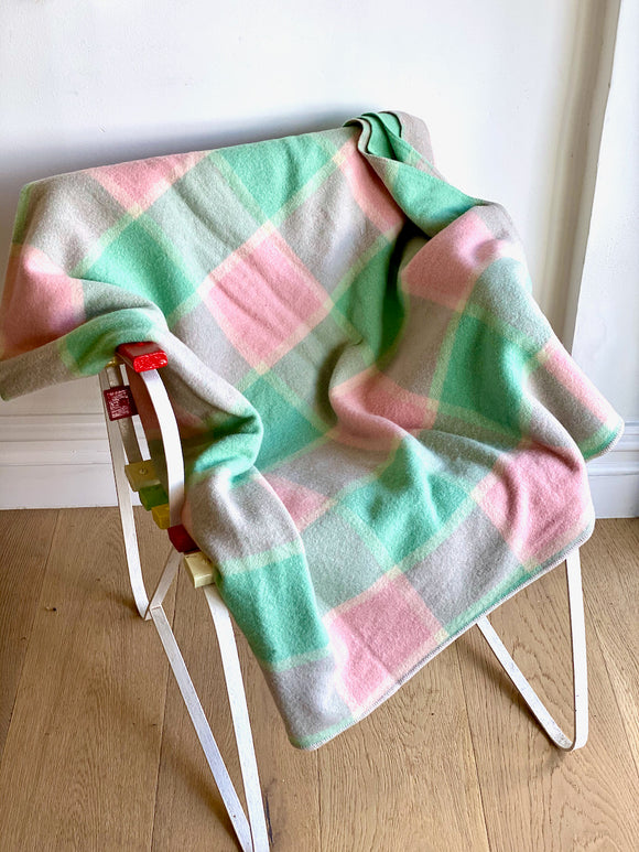 Vintage plaid Australian wool blanket - pink, mint