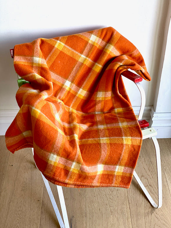 Vintage plaid Australian wool blanket - dark orange, mandarin, ivory