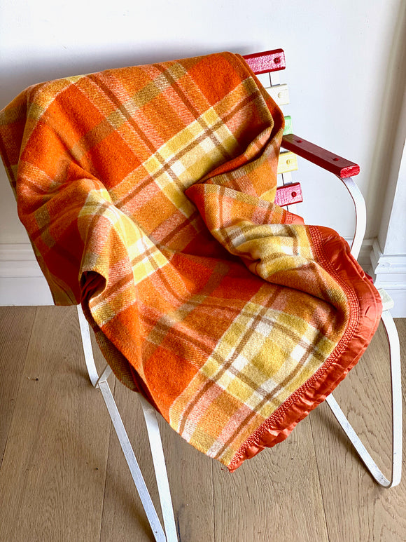 Vintage plaid Australian wool blanket - dark orange, mustard, brown