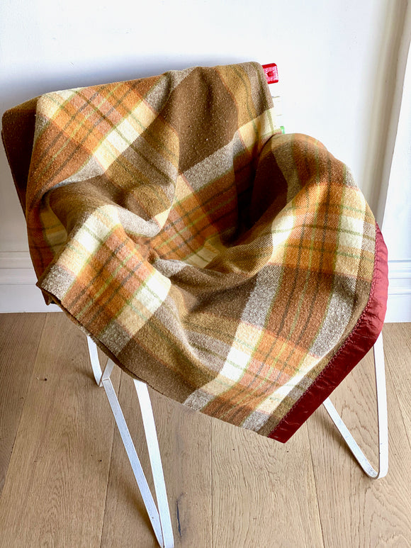 Vintage plaid Australian wool blanket - chocolate, tan, olive