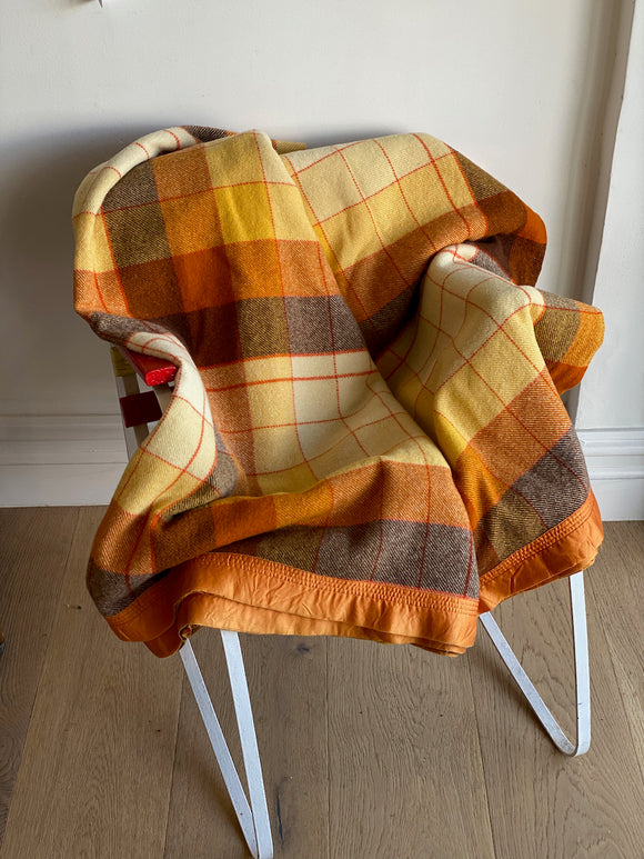 Vintage plaid Australian wool blanket - chocolate, orange... jaffa!