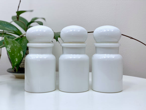 Vintage glass jars (x3), made in Belgium