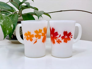 AGEE / CROWN PYREX 'Cape Tulip' in red and orange, coffee mugs [sold separately]