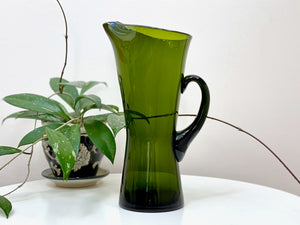 Stunning green glass pitcher
