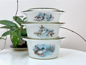 JAJ PYREX 'Wildfowl' #748 Junior Space Saver Casserole Set