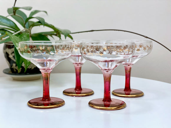 Crown Art Glass (Australia) champagne coupe glasses (x4)