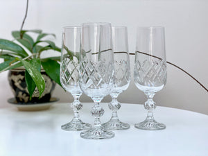 Bohemia Crystal (Czech Republic) champagne flute glasses (x4)