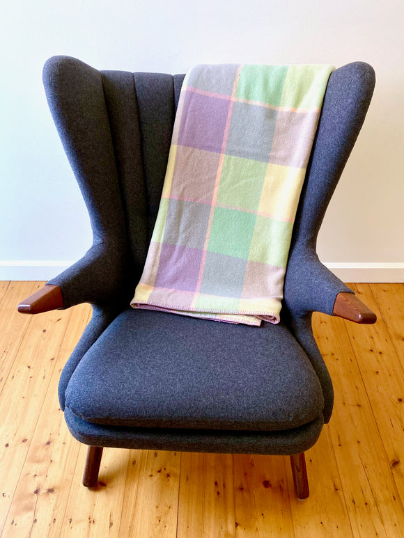Vintage plaid Australian wool blanket - lemon, purple, green