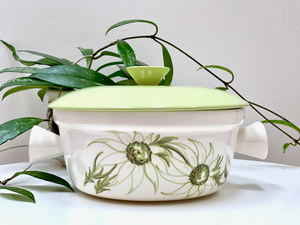DIANA POTTERY (Australia) Flannel Flowers casserole, with lid