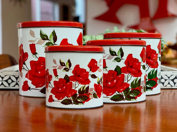 Willow (Australia) oval tin canisters (x4)