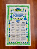Vintage linen tea towel '1985' Calendar, made in Poland