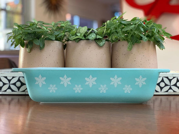 JAJ PYREX 'Snowflake' in Duck Egg Blue, #2162 Deep Oblong Casserole
