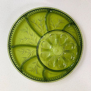 Indiana Glass (USA) green-coloured glass devilled egg platter