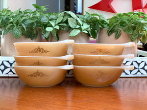 AGEE / CROWN PYREX (Australia) 'Regency' in Spice, #RS12 square ramekins x 6