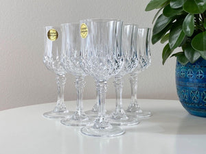 Cristal D'Arques-Durand (France) 'Longchamp' crystal sherry glasses (x6)