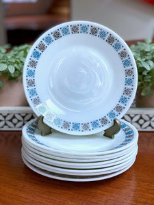 "JAJ PYREX 'Chelsea' #664 - 8.5"" entree/dessert plates, set of eight (plus one bonus!)"
