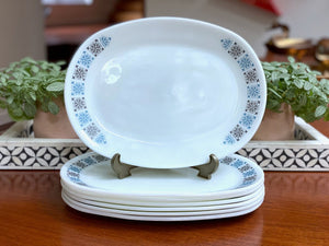 JAJ PYREX 'Chelsea' #660 - oval steak plates (x7) - TWO sets available