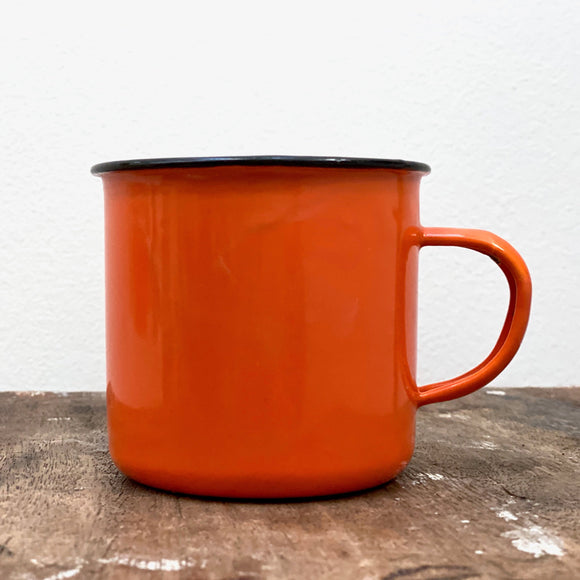 Vintage enamel mug, in deep orange