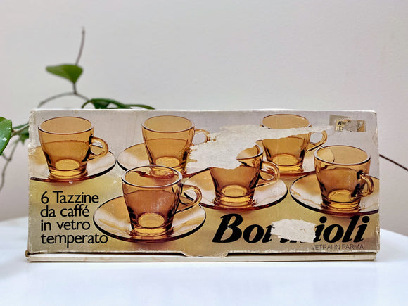 Bormioli 'Vitrosax' (Italy) espresso cup and saucers; set of six - original packaging!