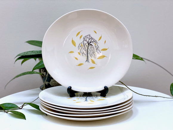 Johnson Bros (England) 'Weeping Willow' entree plates (x6)