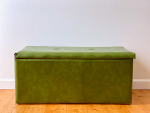 Vintage chest, green vinyl covering