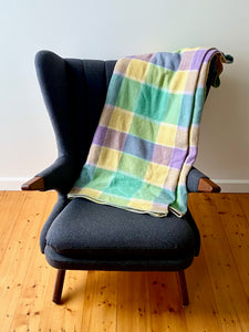 Vintage plaid Australian wool blanket - lemon, sea green, purple