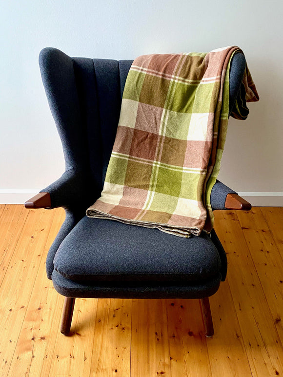 Vintage plaid Australian wool blanket - olive green, reddish brown, ivory