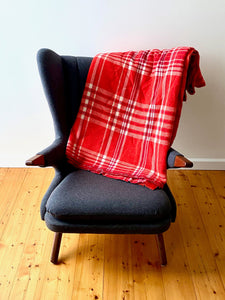 Vintage plaid Australian wool blanket - bright red, cherry, ivory