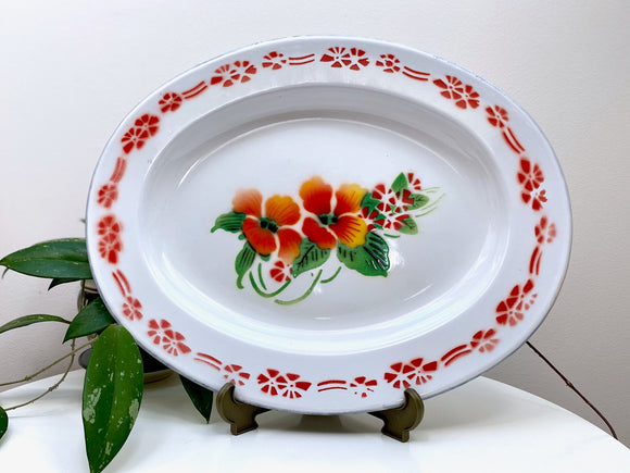 Vintage enamel oval serving platter, with floral design
