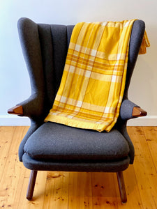 Vintage plaid Australian wool blanket - sunflower yellow, caramel and ivory