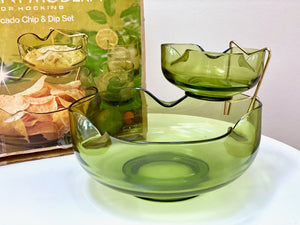 Anchor Hocking (USA) 'Accent Modern' chip and dip bowl set w/ original bracket and packaging