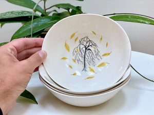 Johnson Bros (England) 'Weeping Willow' cereal bowls (x4)