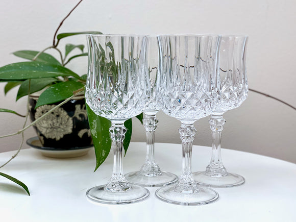 Cristal D'Arques-Durand (France) 'Longchamp' crystal wine glasses (x4)