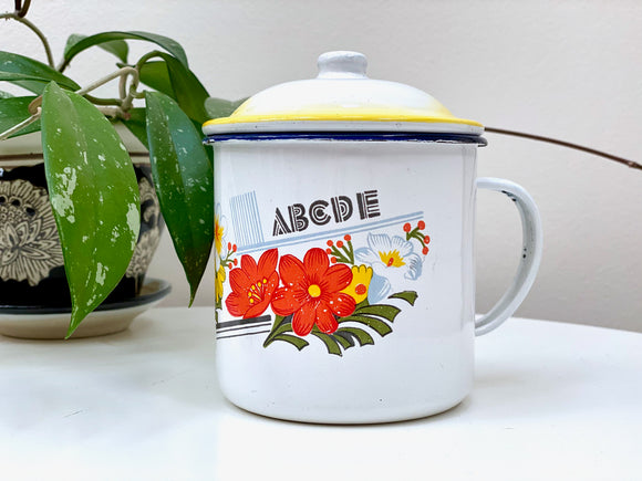 Vintage enamel mug (large), with lid