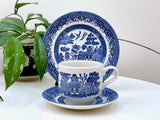 Churchill (England) 'Willow' flat cup, saucer and side plate trio