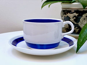 Rörstrand (Sweden) 'Duo Blä' (Duo Blue) cup and saucer