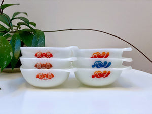 AGEE / CROWN PYREX 'Folk Art' and 'Paisley' #RS12 square ramekins (x6)