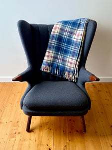 Vintage plaid Australian wool blanket - blue, purple and ivory
