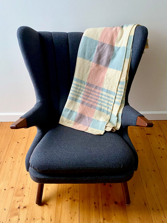 Vintage plaid Australian wool blanket - lemon, pink, blue