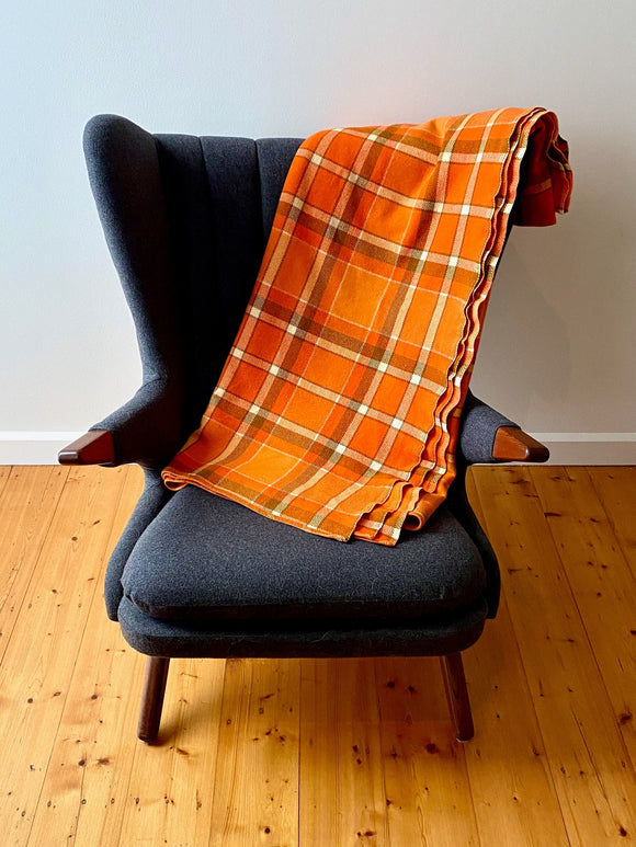 Vintage plaid Australian wool blanket - orange, khaki, ivory