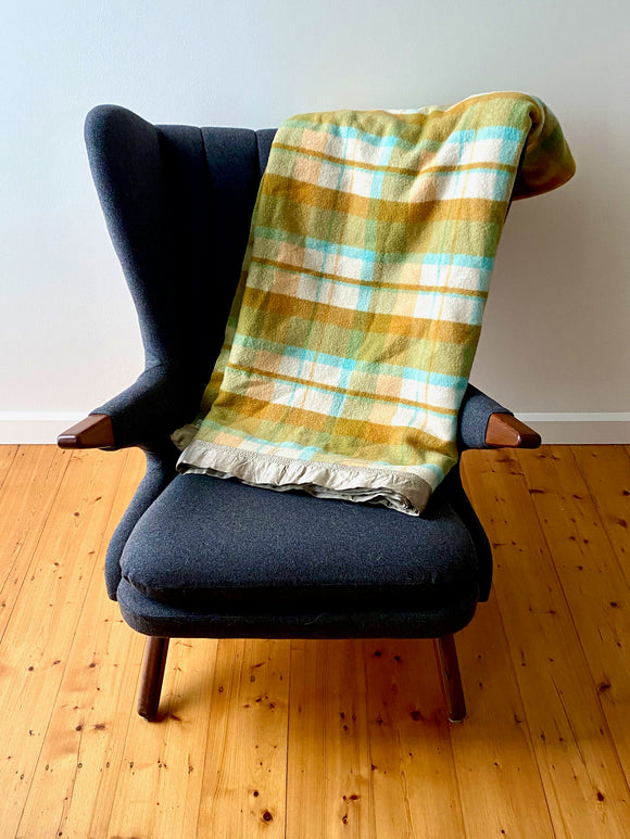 Vintage plaid Australian wool blanket - olive green, turquoise, burnt orange