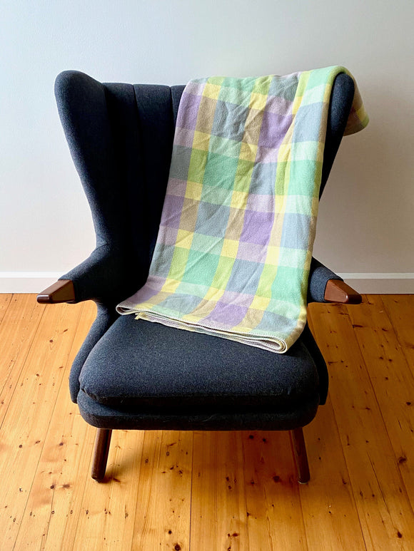 Vintage plaid Australian wool blanket - lemon, mint green, purple