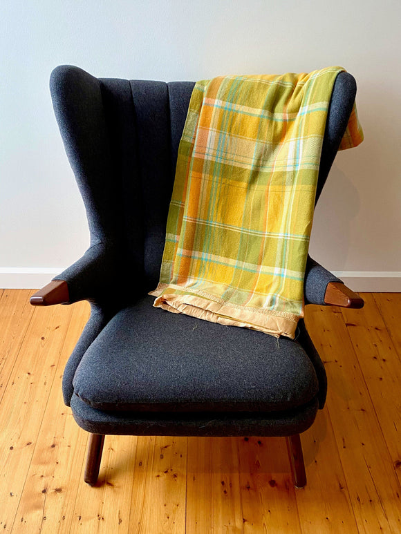 Vintage plaid Australian wool blanket - sunflower yellow, olive green, orange